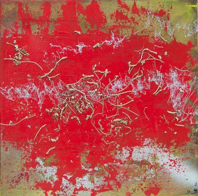 Spontaneous - Acryl auf Leinwand, Mischtechnik, 40x40 cm, 2016, S. Ulrich, U. Schachner, M. Weber, P. Brodaric