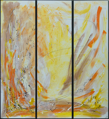 Tre - Acryl auf Leinwand, 3x30x100 cm, 2016, U. Schachner