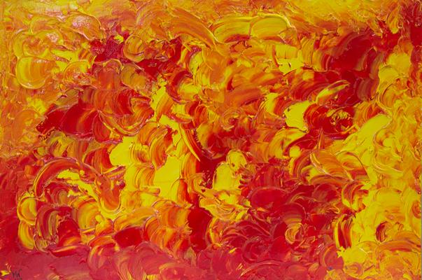 Phönix aus der Asche - Acryl auf Platte, 60x40 cm, 2016, M. Weber