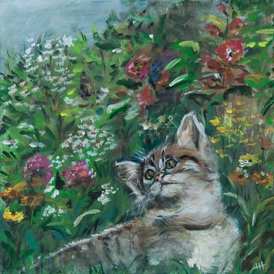 Blumenkatze - Acryl auf Leinwand, 60x60 cm, 2016, H. Halbritter - VERKAUFT