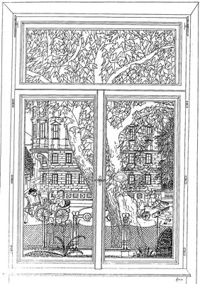 1. Stockwerk Blick auf den Rennweg - Zeichnung,20x30 cm, 2012, A. Kästner