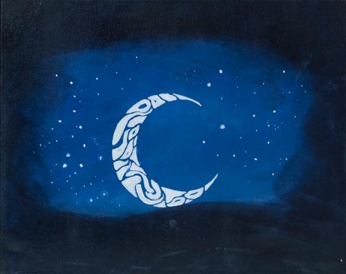 luna ornamental - Acryl auf Leinwand, 50x40 cm, 2016, A. Bellaire