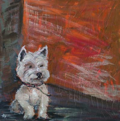 """Westi"" (West highland White Terrier) - Acryl auf Leinwand,  80x80 cm, 2014,  H. Halbritter"