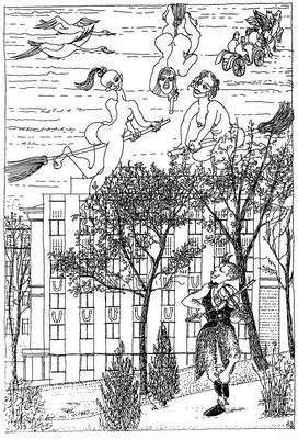 Am Walburgistreffen an einem letzten Apriltag im Botanischen Garten - Zeichnung, 20x30cm, A. Kästner
