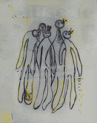 Birds 2 - Zeichnung auf Glas, 20x25 cm, 2016, M. Chartier