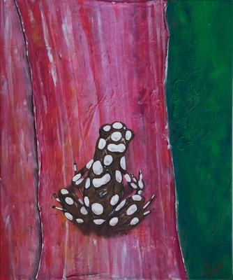 Bromelie mit Frosch - Acryl/Collage auf Leinwand, 50x60 cm, 2014, S. Ulrich