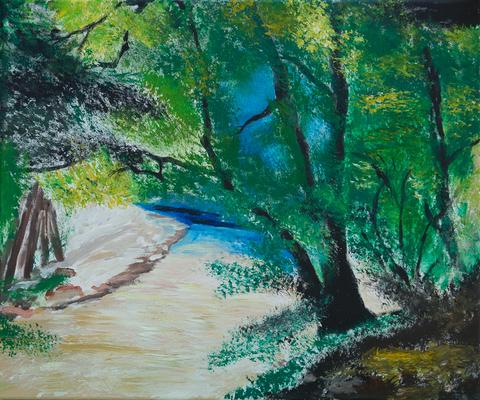 Waldidylle - Acryl auf Leinwand,  60x50 cm, 2014,  P. Brodaric