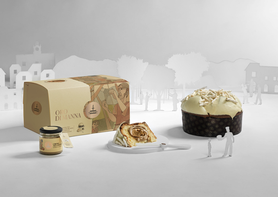 ORO MANNA Panettone with gianduja chocolate drops covered in white chocolate with jar of manna cream, hand wrapped box (1180g)