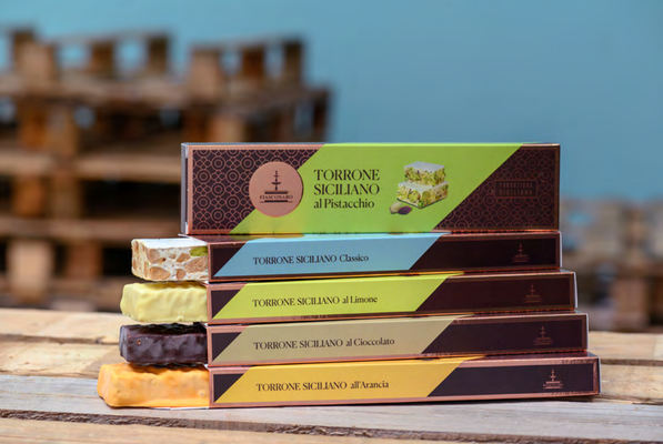 Assorted Sicilian nougat torrone covered with chocolate