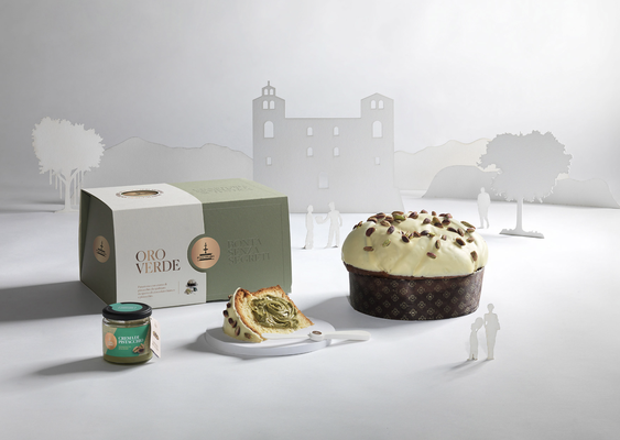 ORO VERDE Panettone covered in white chocolate with jar of pistachio cream, hand wrapped box (1180g)