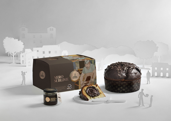 NERO SUBLIME Panettone with Modica chocolate drops covered in strawberry & cocoa with jar of Modica chocolate cream, hand wrapped box (1180g)