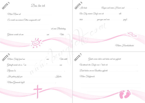 Gästebuch Taufe Mädchen Vordruck zum Ausfüllen