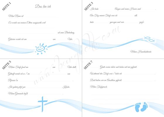 Gästebuch Taufe Junge Vordruck zum Ausfüllen