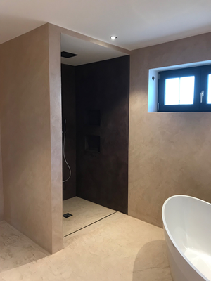 Badezimmer ohne Fliesen - stucco-decor - Kreative Spachteltechnik ...