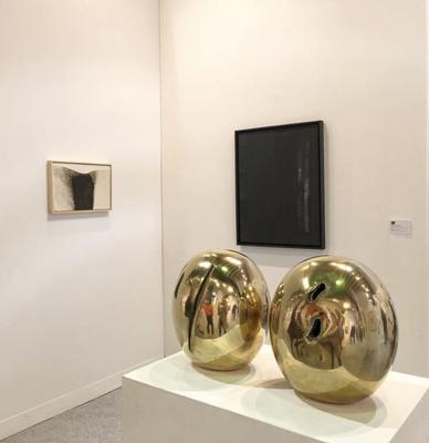 Repetto Gallery booth with Calzolari, Burri, Fontana