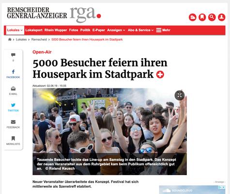 Housepark Review Remscheider General-Anzeiger 2019