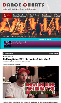 "Dance-Charts.de Artikel über Chico beim Podcast ""Klangküche"""