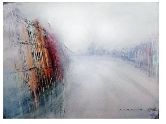 Venedig im Nebel, Feder, Bleistift, Acryl, PanPastel