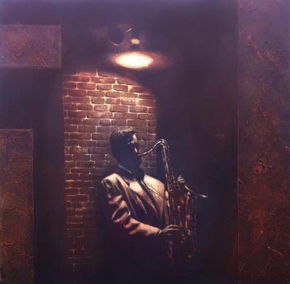 Saxophone-Player, Eisengrund, Acryl, Sumpfkalk, Oxidation auf Leinwand, 70 x 70 cm