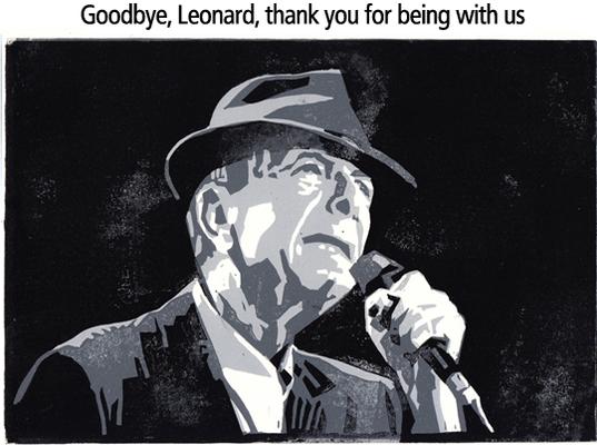 Leonard Cohen, Linolschnitt, 19 x 28 cm