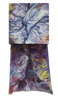 Colours of light and shadow 3/3  [Oil on transparent canvas, 34x18x5cm, 2020]