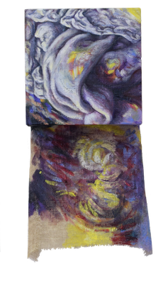 Colours of light and shadow 2/3  [Oil on transparent canvas, 34x18x5cm, 2020]