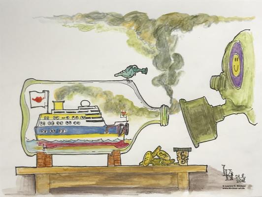 Luftverschmutzung durch Kreuzfahrtschiffe,               Buddelschiffe sind auch nicht mehr das was sie mal waren...