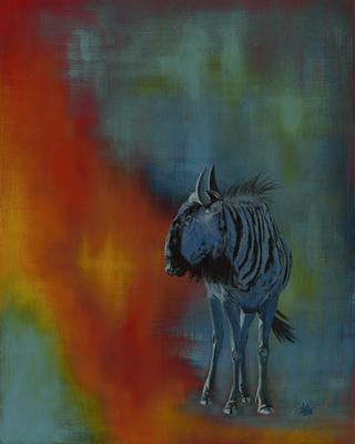Blue Gnu, © 2018 Scott Holt, acrylic on cradled panel, 50x40cm/19.7x15.7in