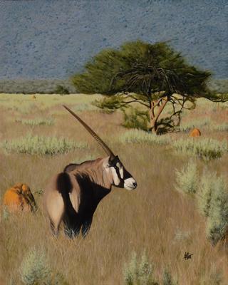 Oryx Savannah, © 2018 Scott Holt, acrylic on canvas, 50x40cm/19.7x15.7in