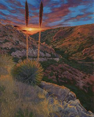 Desert Spoon at Sunset, © 2021 Scott Holt, acrylic on wood, 50x40cm/19.7x15.7in