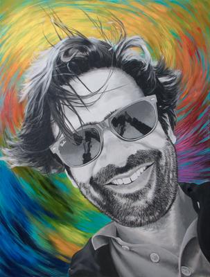 Selfie, © 2018 Scott Holt, acrylic on canvas, 80x60cm/31.5x23.6in