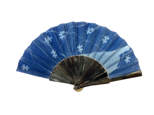 Conversations between us: cyanotype and acrylic on fan 2011