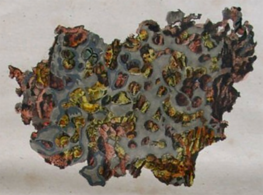 Handcolorierte Zeichnung des Meteoriten von Krasnojarsk (aufgeschnitten) aus dem Jahr 1820