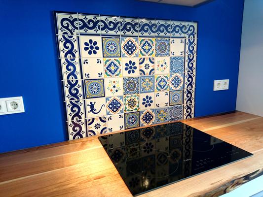 Schöner Fliesenspiegel mit premium Mexiko Fliesen 11x11 cm