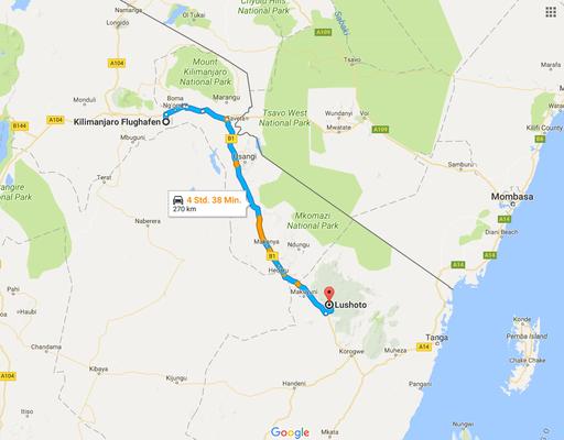 Vom Kilimanjaro-Flughafen ging es per Auto in die Usamaraberge