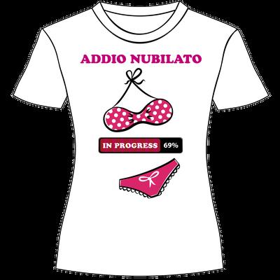 """Maglietta personalizzata per la festa di addio nubilato """"Addio nubilato in progress"""""""