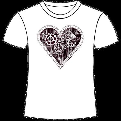 Stampa di cuore con ingranaggi su maglietta personalizzata