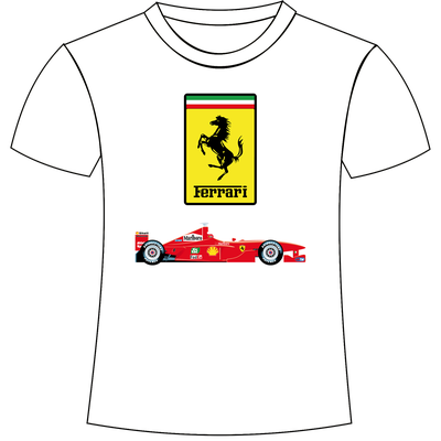 Maglietta con stampa personalizzata logo e bolide Ferrari