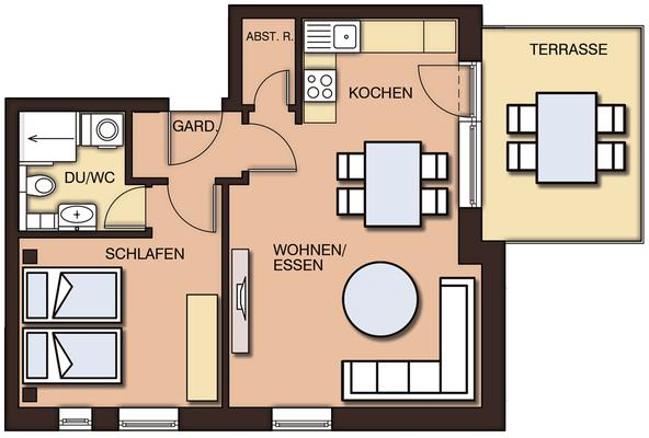 Grundrisse mit Terrasse und Möblierung - Homestaging
