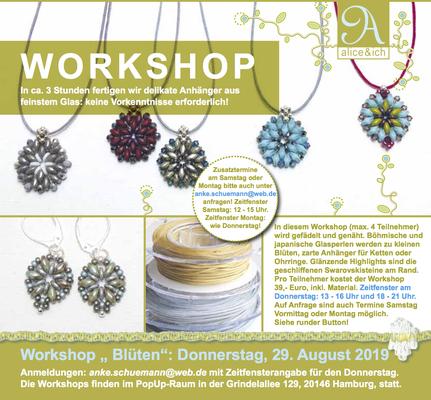 Workshop: zarte Anhänger-Blüten aus Glasperlen nähen