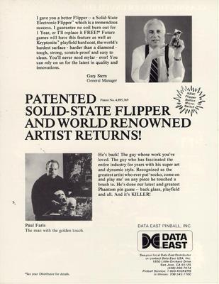 "Flyer ""Phantom of the Opera"" von Data East"