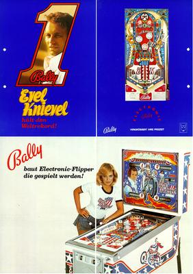"""4seitiger deutscher Flyer """"Evel Knievel"""" von Bally"""