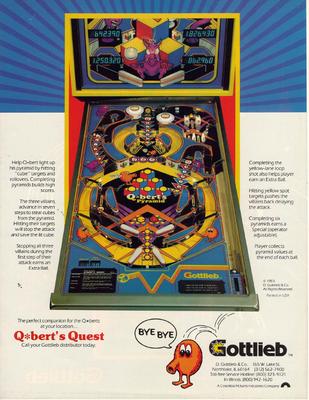 """Flyer """"Q-bert's Quest"""" von Gottlieb"""