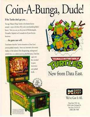 """Flyer """"Turtles"""" von Data East"""