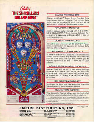 "Flyer ""Six Million Dollar Man"" von Bally"