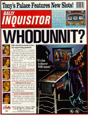 "Flyer ""Whodunnit"" von Bally"