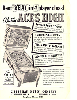 "Flyer ""Aces High"" von Bally"
