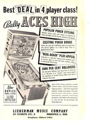 """Flyer """"Aces High"""" von Bally"""