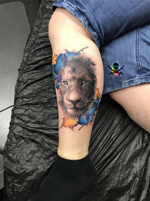 löwe lion tattoo watercolor