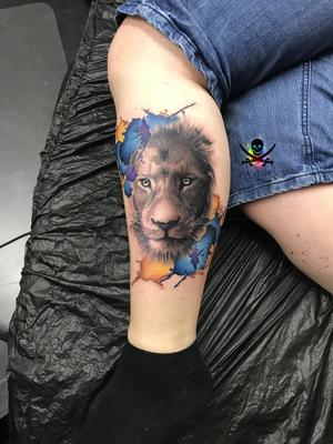 löwe lion tattoo watercolor